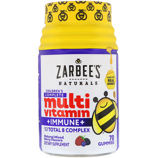 Zarbee's, Children's Complete Multivitamin + Immune, Natural Mixed Berry Flavors, 70 Gummies