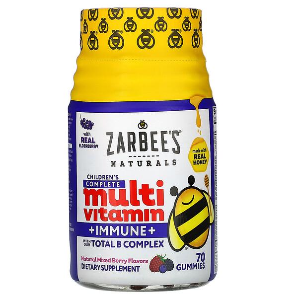 Zarbee's, Apoyo inmune + multivitamínico completo para niños, sabores de bayas mixtas naturales, 70 gomitas