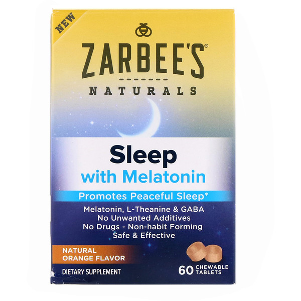 Zarbee's, Sleep with Melatonin, Natural Orange, 60 Chewable Tablets