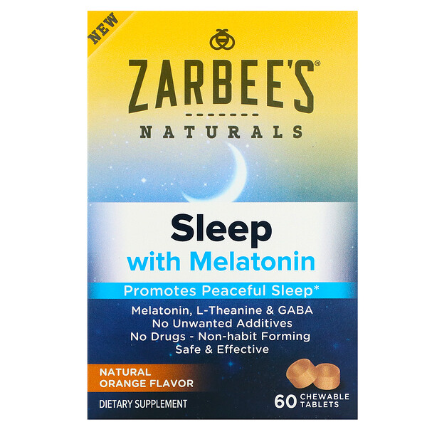 Sleep with Melatonin, Natural Orange, 60 Chewable Tablets