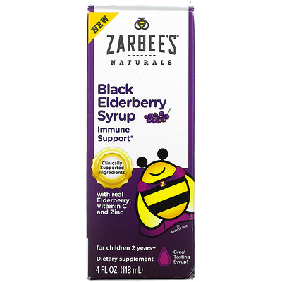 Zarbee's Black Elderberry Syrup, With Real Elderberry, Vitamin C and Zinc, For Children 2 Years +, 4 fl oz (118 ml)
