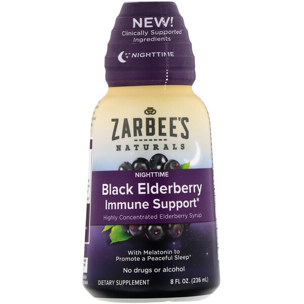 Zarbee's, NightTime Black Elderberry Immune Support, 8 fl oz (236 ml)