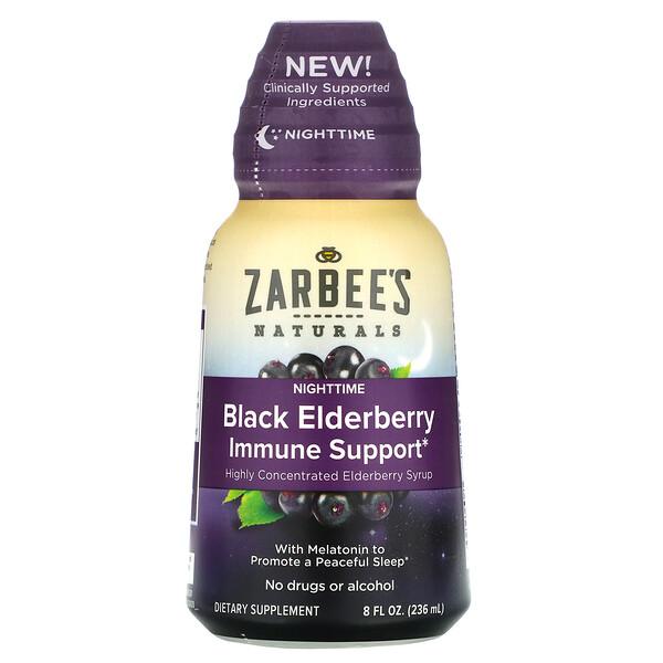 Zarbee's, Suplemento inmunitario de baya de saúco negro NightTime, 236ml (8oz. liq.)