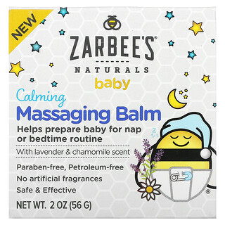 Zarbee's, Baby, Calming Massaging Balm with Lavender & Chamomile Scent, 2 oz (56 g)