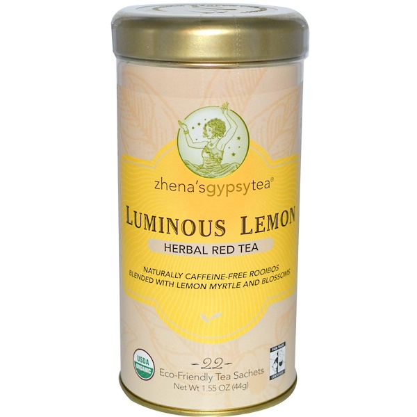 Zhena's Gypsy Tea, Luminous Lemon, Herbal Red Tea, Caffeine Free, 22 Tea Sachets, 1.55 oz (44 g) (Discontinued Item)