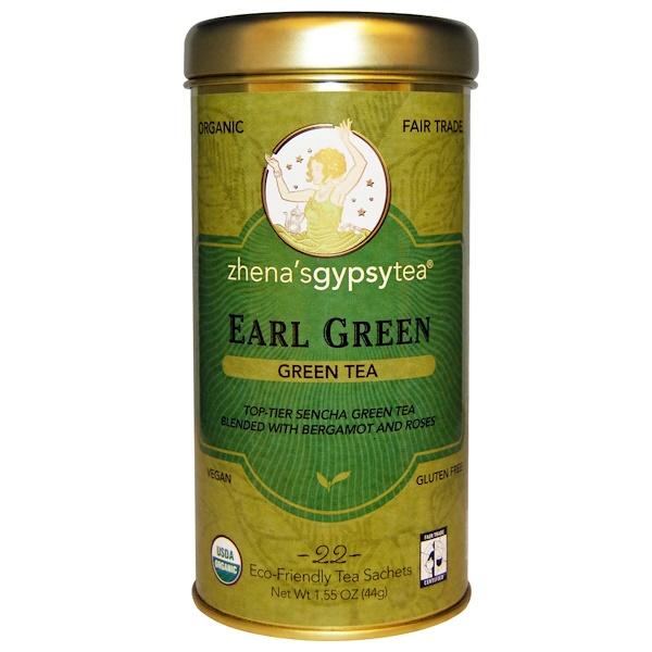 Zhena's Gypsy Tea, Earl Green, Green Tea, 22 Tea Sachets, 1.55 oz (44 g)