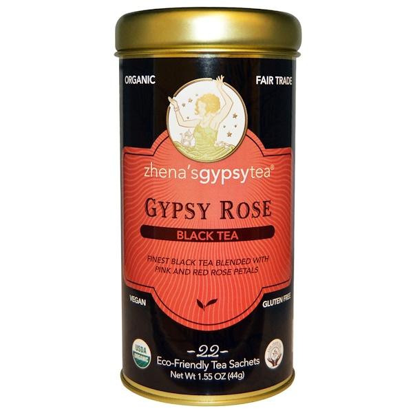 Zhena's Gypsy Tea, Органический черный чай, цыганская роза, 22 пакетика, 1,55 унции (44 г) (Discontinued Item)