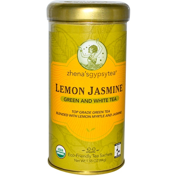 Zhena's Gypsy Tea, Lemon Jasmine, Green and White Tea, 22 Tea Sachets, 1.55 oz (44 g)  (Discontinued Item)