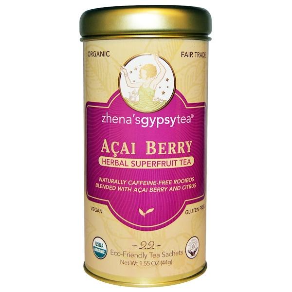 Zhena's Gypsy Tea, Acai Berry, Herbal Superfruit Tea, 22 Sachets, 1.55 oz (44 g)