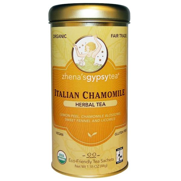 Zhena's Gypsy Tea, Organic, Italian Chamomile, Herbal Tea, Caffeine Free, 22 Sachets, 1.55 oz (44 g) (Discontinued Item)
