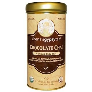 Zhena's Gypsy Tea, チョコレート チャイ、 ハーバルレッドティー、 カフェインレス、  22 ティーバッグ、 1.54 oz (44 g)