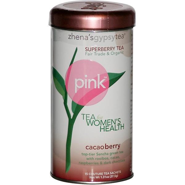 Zhena's Gypsy Tea, Pink, Superberry Tea, Cacao Berry, 15 Couture Tea Sachets, 1.31 oz (37.5 g) (Discontinued Item)