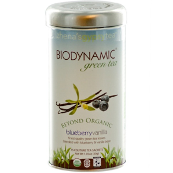 Zhena's Gypsy Tea, Biodynamic, Green Tea, Blueberry Vanilla, 15 Couture Tea Sachets, 1.05 oz (30 g) (Discontinued Item)