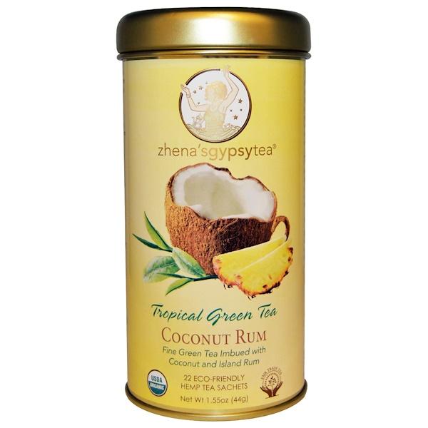 Zhena's Gypsy Tea, Тропический зеленый чай, кокосовый ром, 22 пакетика, 1,55 унции (44 г) (Discontinued Item)