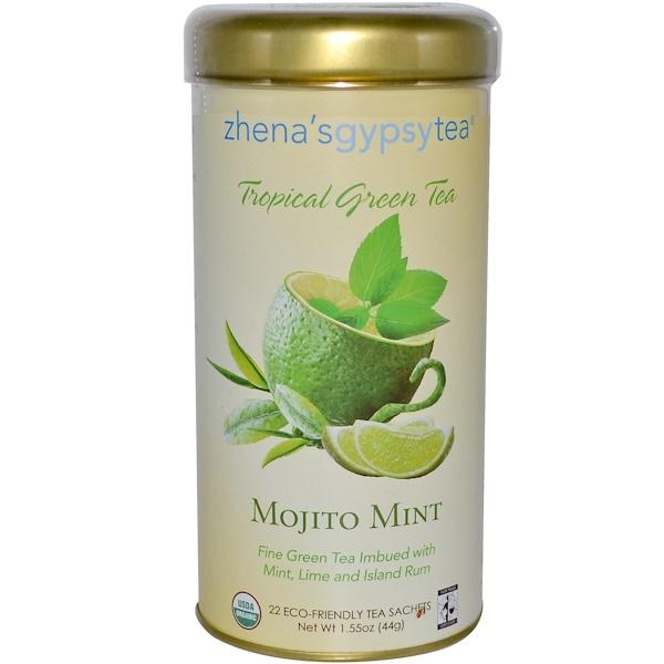 Zhena's Gypsy Tea, Tropical Green Tea, Mojito Mint, 22 Sachets, 1.55 oz (44 g) (Discontinued Item)