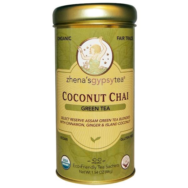 Zhena's Gypsy Tea, Органический зеленый чай, кокосовый чай, 22 пакетика, 1,54 унции (44 г)
