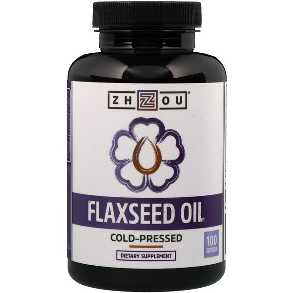 Zhou Nutrition, Flaxseed Oil, Cold-Pressed, 100 Softgels (Discontinued Item)
