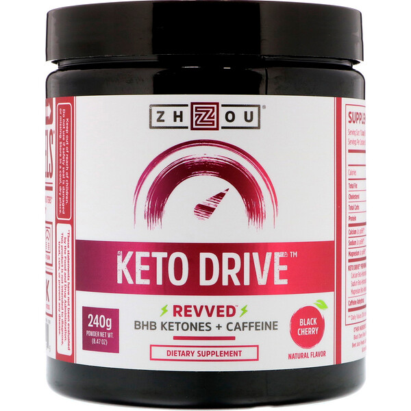 Keto Drive, Revved, Black Cherry, 240 g (8.47 oz)