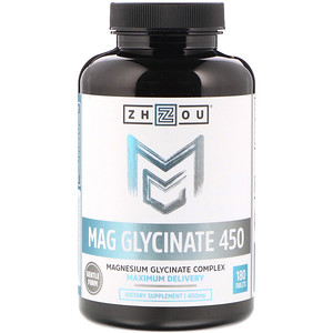 Zhou Nutrition, Mag Glycinate 450, 450 mg, 180 Tablets отзывы покупателей