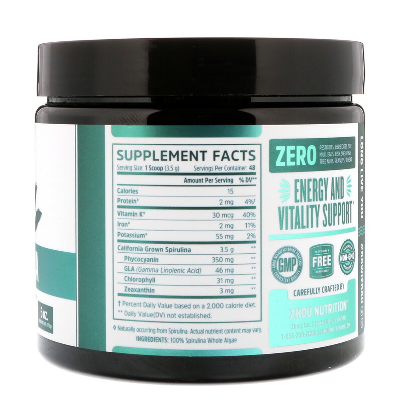 Zhou Nutrition, Spirulina, Longevity Superfood, 6 oz (170 g) - photo 1