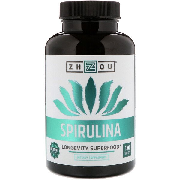 Spirulina, Longevity Superfood, 180 Tablets