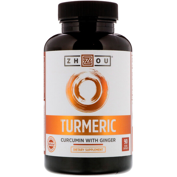 Zhou Nutrition, Turmeric, Curcumin with Ginger, 90 Veggie Capsules