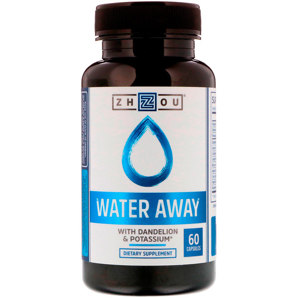 Zhou Nutrition, Water Away с одуванчиком и калием, 60 капсул