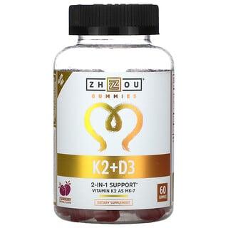 Zhou Nutrition, K2 + D3, Strawberry, 60 Gummies