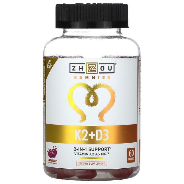 K2+D3, клубника, 60 жевательных таблеток