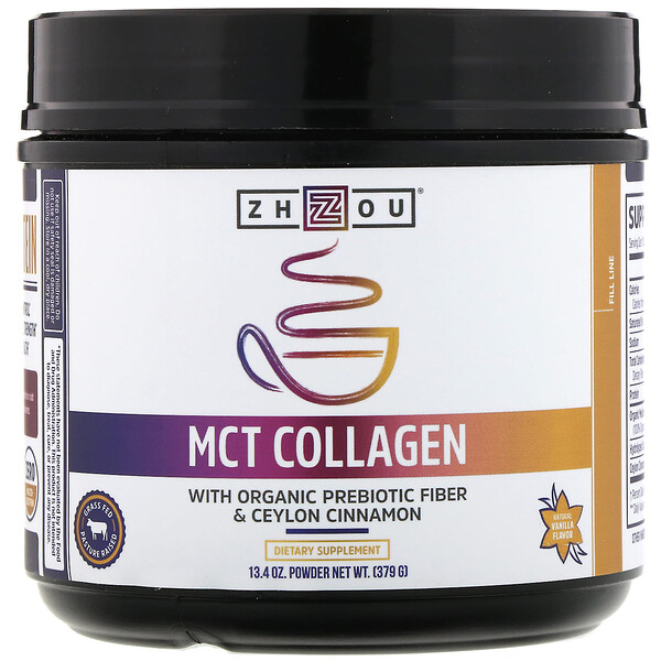 Zhou Nutrition, MCT Collagen, Natural Vanilla, 13.4 oz (379 g)