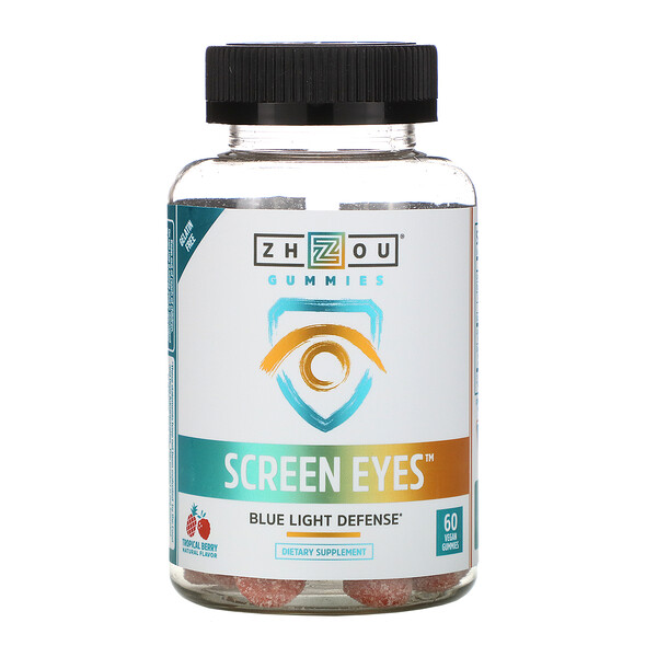 Zhou Nutrition, Screen Eyes, Tropical Berry, 60 Vegan Gummies
