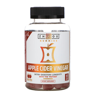 Zhou Nutrition, Apple Cider Vinegar, Harvest Apple, 60 Vegan Gummies
