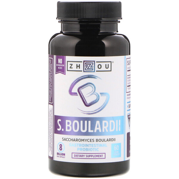 Zhou Nutrition, Saccharomyces Boulardii, Gastrointestinal Probiotic, 8 Billion, 60 Veggie Capsules