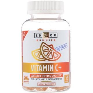Zhou Nutrition, Max Strength Vitamin C + Superior Immune Booster, Orange Blast, 60 Vegan Gummies