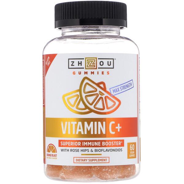 Zhou Nutrition, Max Strength ויטמין C + בוסטר מעולה למערכת החיסונית, תפוז פיצוץ, 60 סוכריות גומי טבעוניות (Discontinued Item)