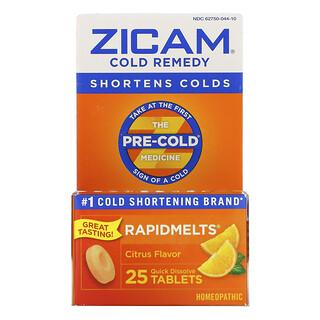 Zicam, Cold Remedy, RapidMelts, Citrus, 25 Quick Dissolve Tablets