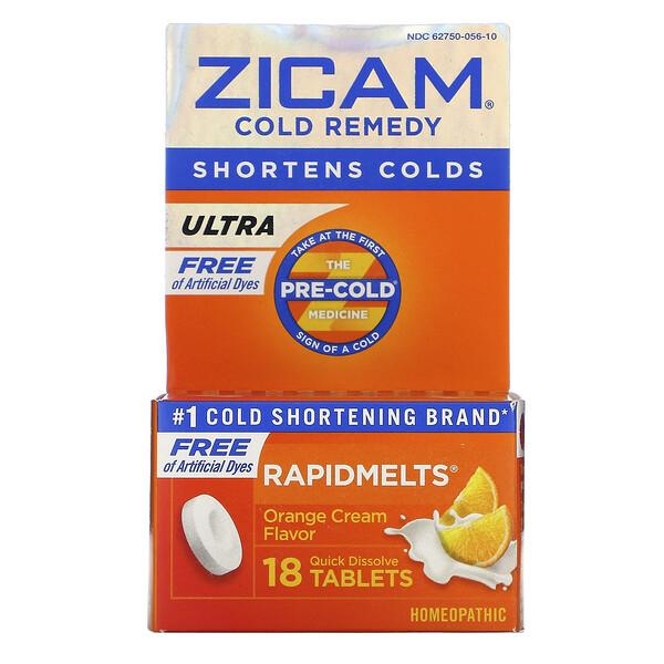Zicam, Ultra Cold Remedy, RapidMelts, Orange Cream Flavor, 18 Quick Dissolve Tablets