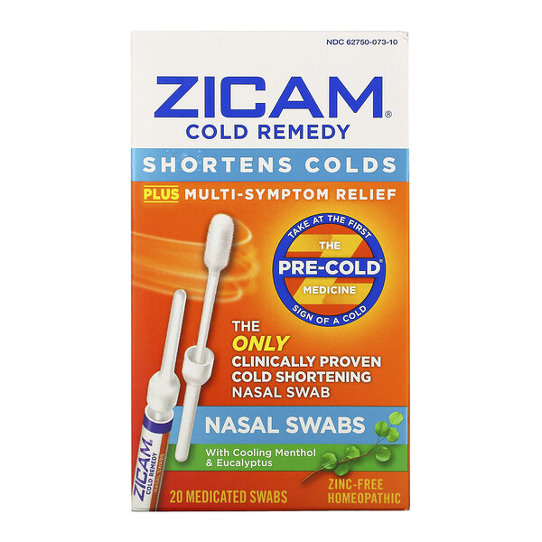 Zicam, Cold Remedy, Nasal Swabs, 20 Medicated Swabs