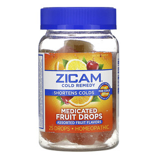 Zicam, Cold Remedy, Medicated Fruit Drops, Assorted Fruit , 25 Drops