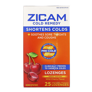 Zicam, Cold Remedy, Lozenges, Wild Cherry , 25 Individually Wrapped Lozenges