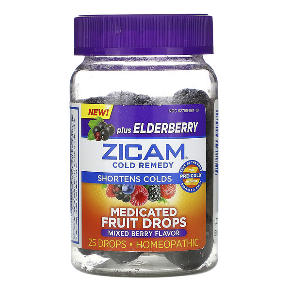 Cold Remedy, Medicated Fruit Drops Plus Elderberry, Mixed Berry, 25 Drops