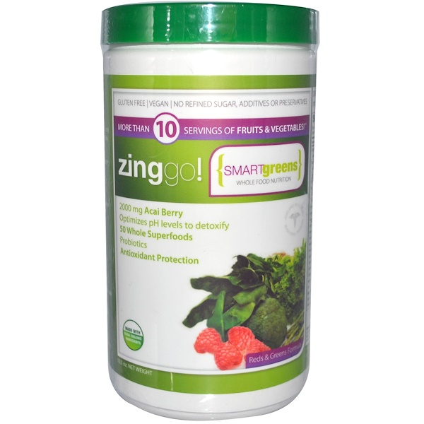 Zing Go!, Smart Greens Whole Food Nutrition, Reds & Green Formula, 10.5 oz (Discontinued Item)