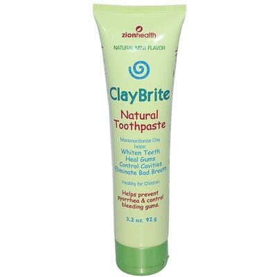 Zion Health ClayBrite, Натуральная зубная паста, натуральная мята, 3, 2 унции (92 г)  - купить со скидкой