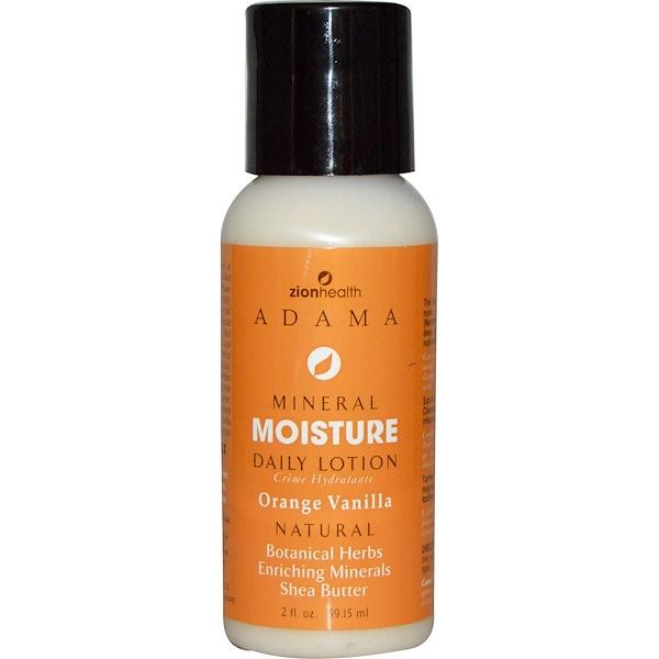 Zion Health, Adama, Mineral Moisture Daily Lotion, Orange Vanilla, 2 fl oz (59.15 ml) (Discontinued Item)