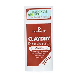 Zion Health, ClayDry Deodorant, Original, Bold, 2.5 oz (70 g)