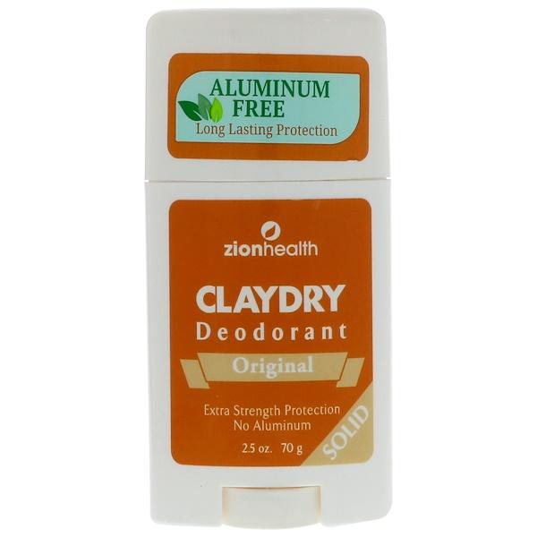 Zion Health, Clay Dry Deodorant, Original, Solid, 2.5 oz (70 g)