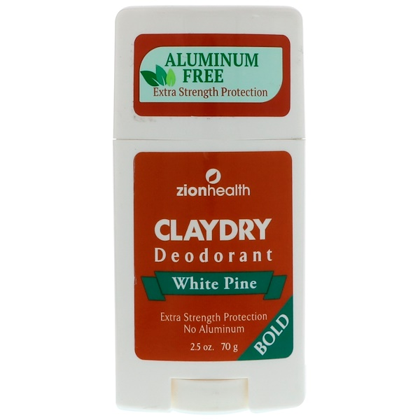 Zion Health, Bold, Clay Dry Deodorant, White Pine, 2.5 oz (70 g) (Discontinued Item)