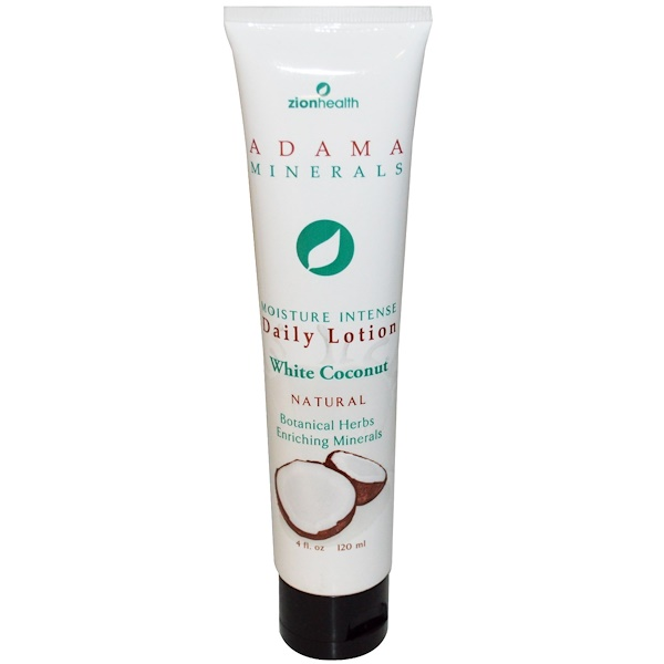 Zion Health, Adama Minerals, Daily Lotion, White Coconut, 4 fl oz (120 ml) (Discontinued Item)