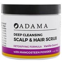 Adama, Глубоко очищающий скраб для волос и кожи головы, Ваниль и кокос, 4 унц. (113 г) - фото