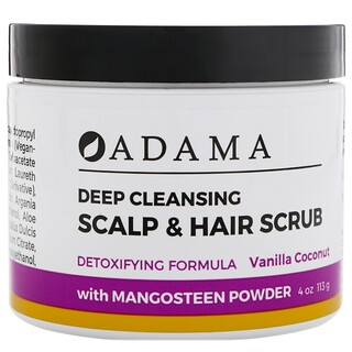 Zion Health, Adama, Deep Cleansing Scalp & Hair Scrub, Vanilla Coconut, 4 oz (113 g)
